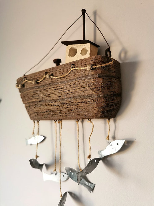 Wooden Hanging Fishing Boat