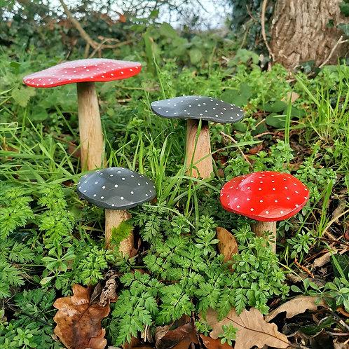 Handmade Wooden Mushrooms