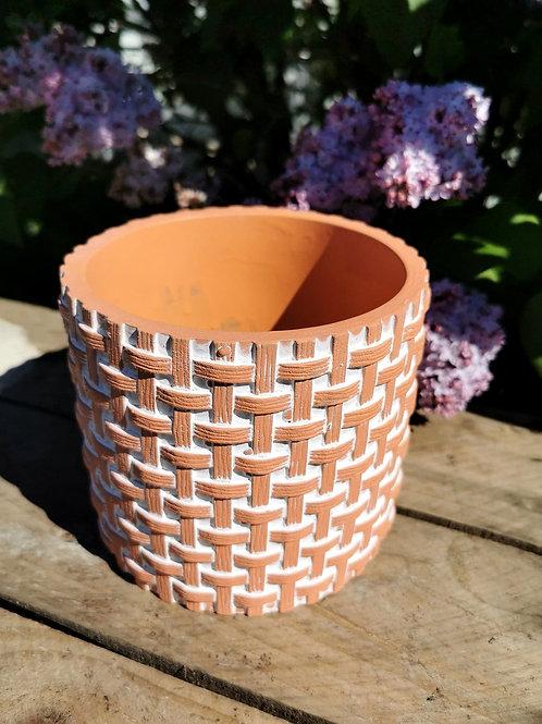 Basket Weave Ceramic Pot