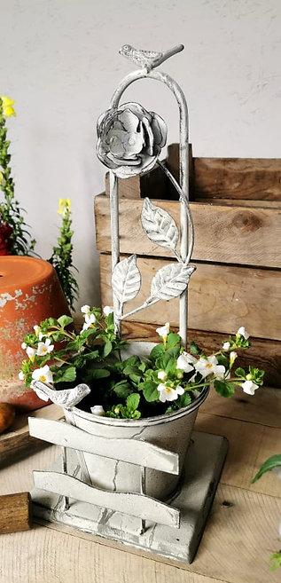 Wild Rose Metal Planter