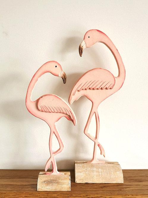 Wooden Flamingos
