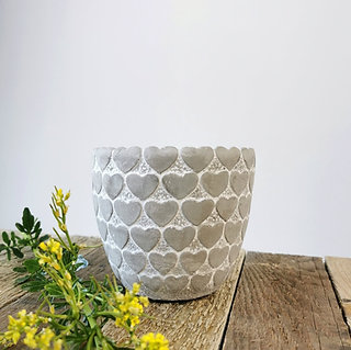 Stone Heart Flower Pot