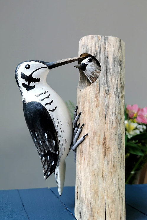 Hand Carved Woodpecker Family