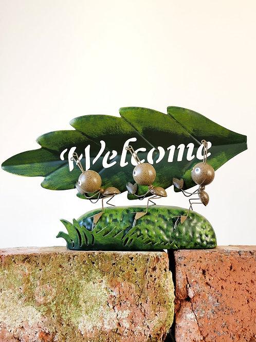 Welcome Leaf Metal Ants