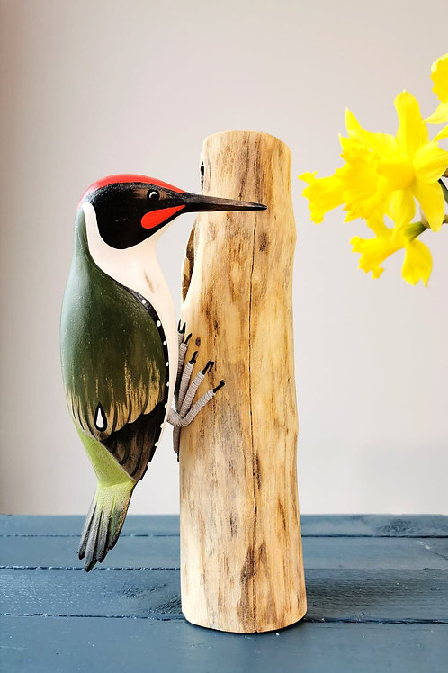 Hand Carved Green Woodpecker