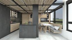 frente negro con mueble completo madera.