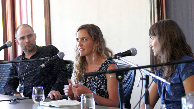 Brian Kalbliesch, Genevieve Roberston, and Slava Doval at one of EMLF's popular panel discussions