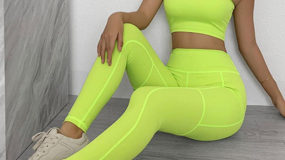 Fitness Sports Bra Leggings  Athletic Yoga 2 Piece Set