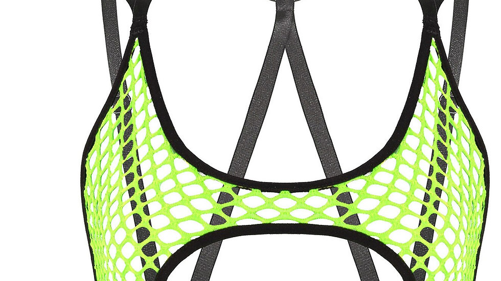 Bra Top, Hollow Out Fishnet, Elastic Crisscross Back Cutout Crop Tops