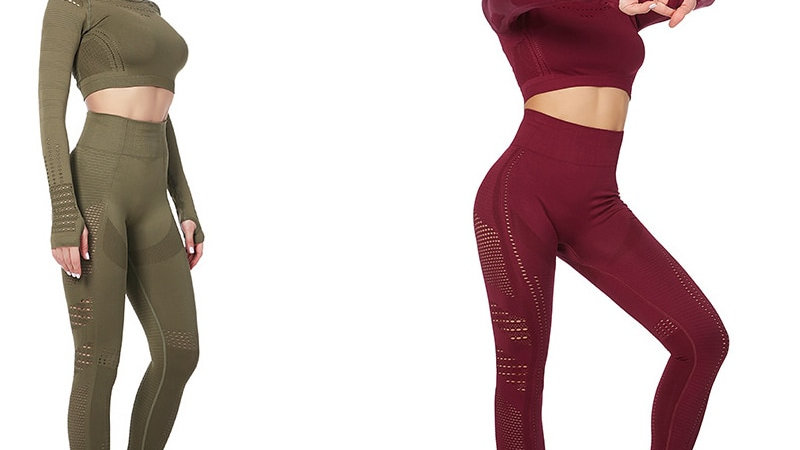 Long Sleeve Fitness Crop Top + High Waist Seamless Leggings