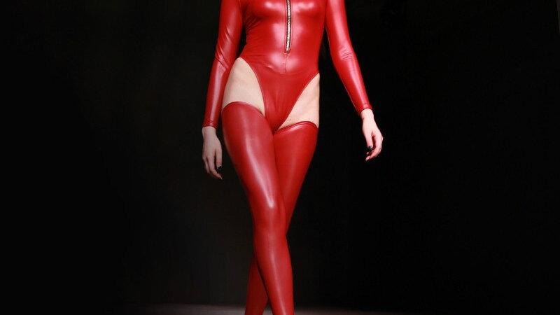 Wet look Latex Solid Color Long Sleeve Bodysuit Pole Dance