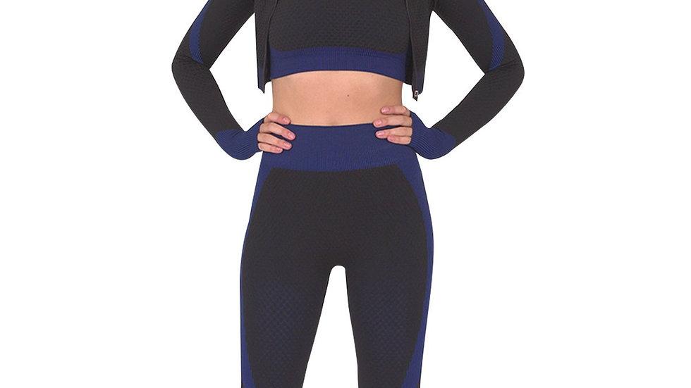 Trois Seamless Jacket, Leggings & Sports Top 3 Set - Black With Navy