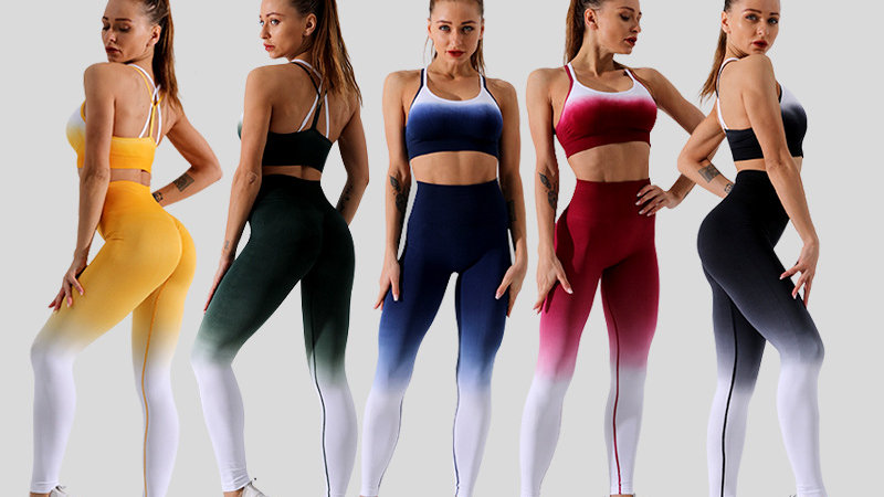 Ombre Seamless 2 Piece Set, Workout Clothes Scrunch Butt Leggings