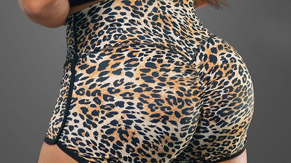 Women Seamless Basic Slip Bike Leopard Printed High Waist Compression Shorts