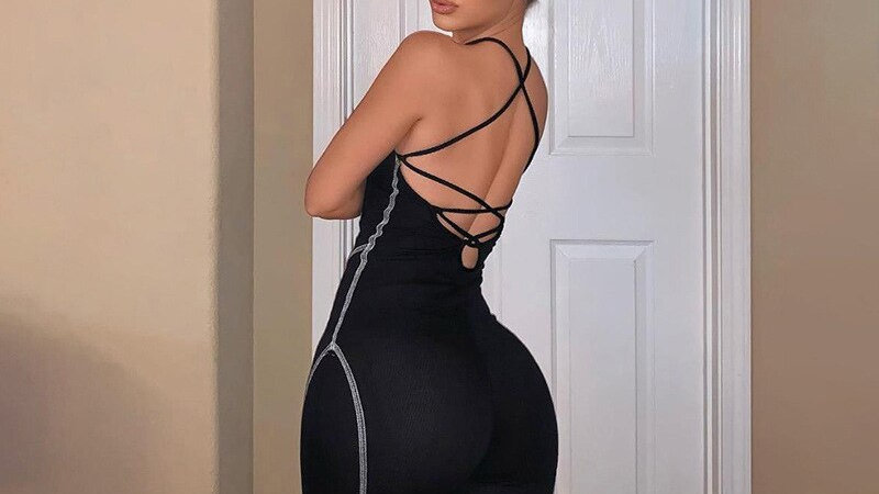 Simenual Sporty Workout Rompers, Backless Sleeveless Lace Up Active Wear