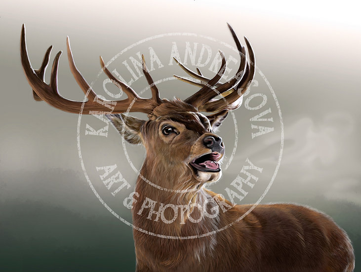 Red Stag - grey background