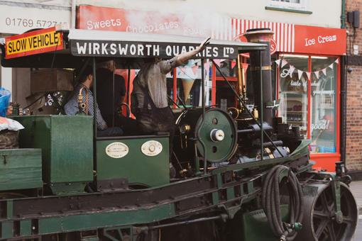 South Molton, charity event with steam m