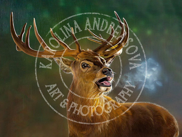 Red Stag - green background