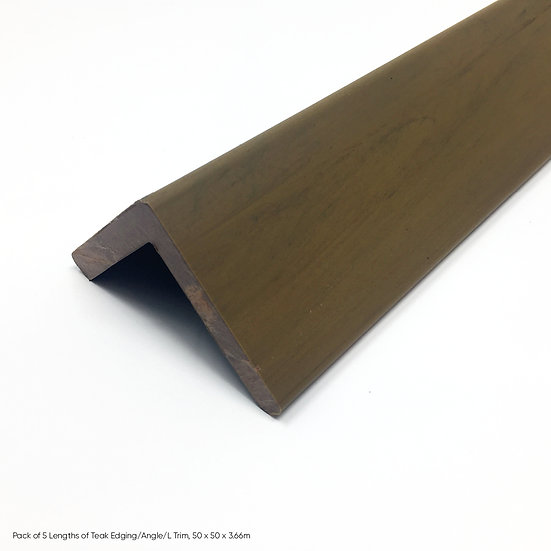 Pack of 5 Lengths of Teak Edging/Angle/L Trim, 50 x 50 x 3.66m