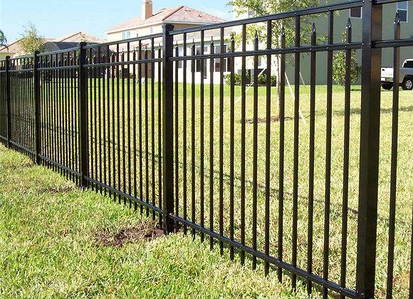 Flat top powder coated galvanized zinc steel fence