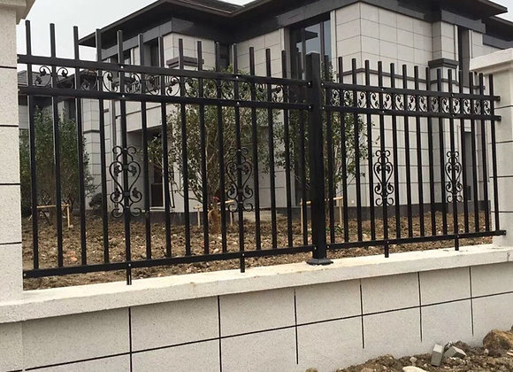 8' tall Customized Decorative faux wrought iron metal fence