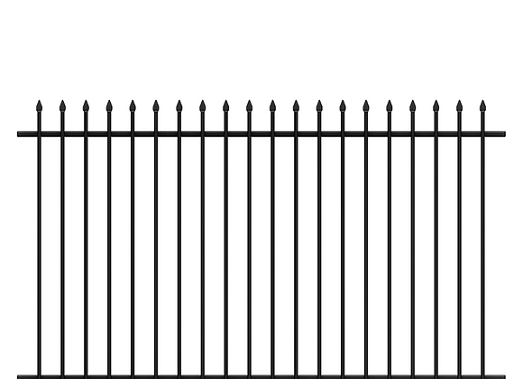 Black Powder Painting Two Rails Galvanized Tubular Steel Fencing With Spear Tops
