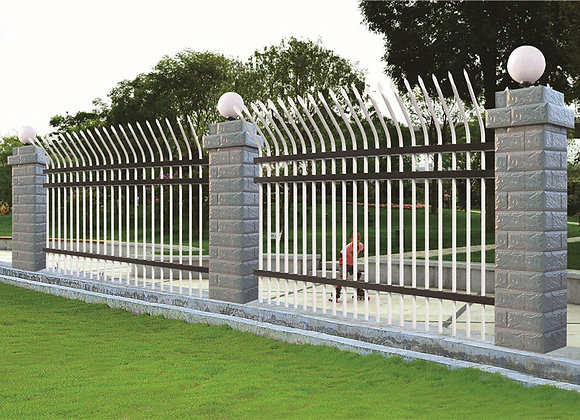 High security design curved top metal fence panels