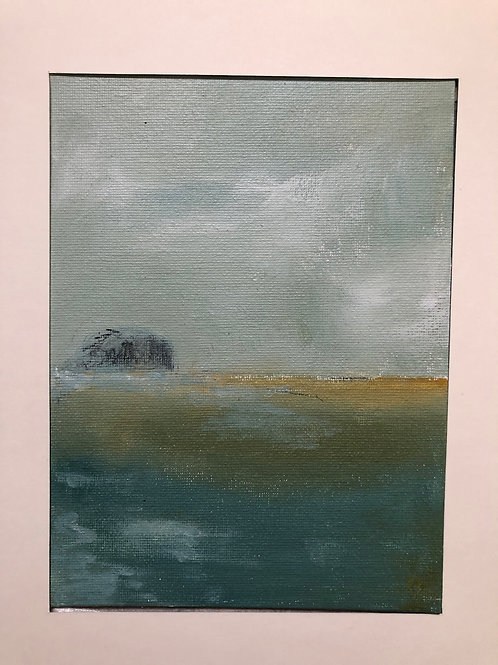 Liz Hardy, Bass Rock, dawn, 21cm x 30cm mounted, acrylic