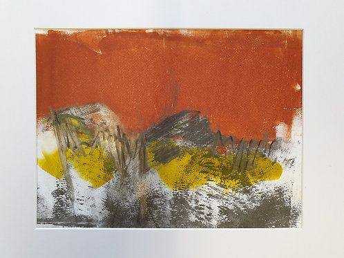 Annie Livesey, Autumn Wood 1, mounted A4, acrylic & pastel on gloss print paper