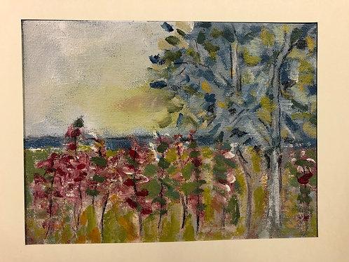 Liz Hardy, Stuartslaw, summer, 29cm x 21cm mounted, acrylic
