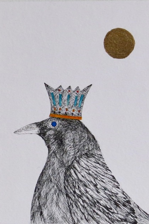 Andrew Major, King Crow in the Golden Sun, 17.5cm x 12.5cm, pen & ink, gold leaf