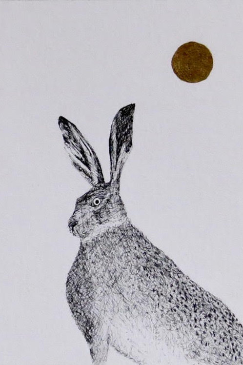 Andrew Major, Hare in the GoldenSun, 17.5cm x 12.5cm, pen & ink with gold leaf