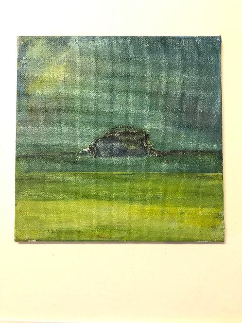 Liz Hardy, The Bass Rock, 15.5cm x 15.5cm, acrylic