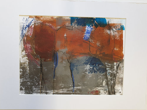 Annie Livesey, Autumn Wood 2, A4 mounted, acrylic & pastel on gloss print paper
