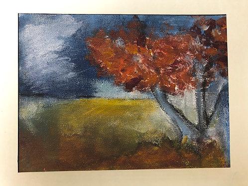 Liz Hardy, Stuartslaw, autumn, 29cm x 21cm mounted, acrylic