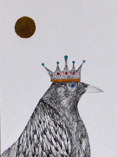 Andrew Major, Queen Crow in the Golden Sun, 17.5cm x 12.5cm, pen & ink gold leaf