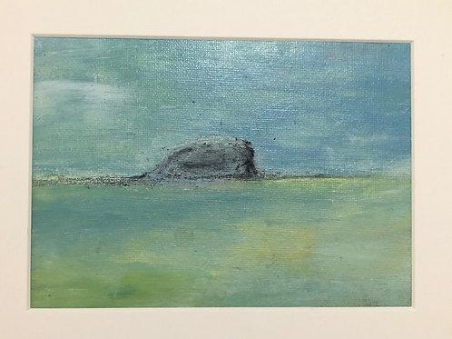Liz Hardy, Winter Bass Rock II, 30cm x 21cm mounted, acrylic