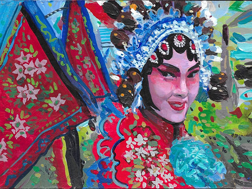 George Donald RSA RSW, Souzhou Spring Festival, unframed, 21cm x 15cm, acrylic