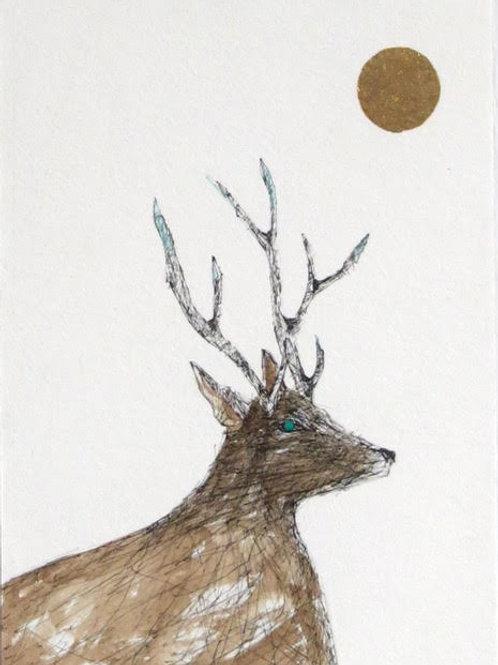 Andrew Major, Stag in the Golden Sun, 17.5cm x 12.5cm, pen & ink, gold leaf