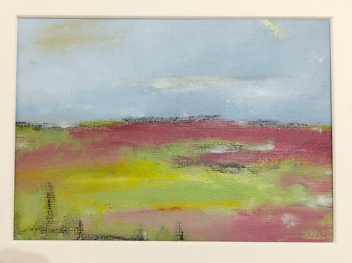 Liz Hardy, Pink Bracken towards Gifford, 30cm x 21cm mounted acrylic