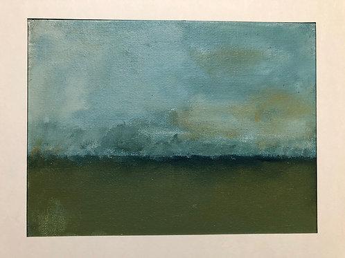 Liz Hardy, Cocklawburn Winter Sea, 30cm x 21cm mounted, acrylic