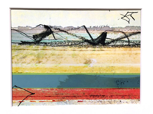 Justine Miller, Beachline II, 30cm x 24cm mounted,print