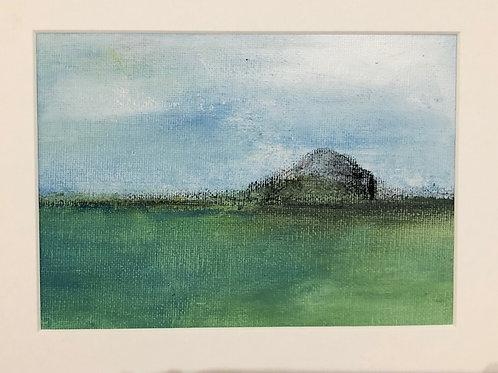 Liz hardy, Winter Bass Rock IV, 30cm x 21cm mounted, acrylic
