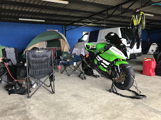 Bridgestone Superbike ridden by Christopher Kretzen with the set up where him and his team stayed for the weekend. Photo by Naomi Grewan