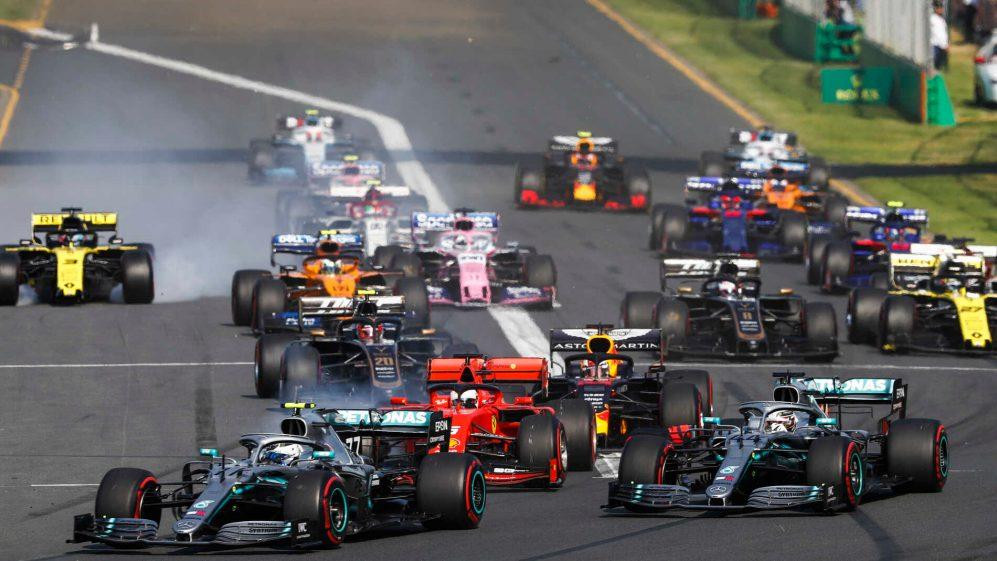 The cars turning into the first corner of the 2019 season. Image provided by the Official F1 website.