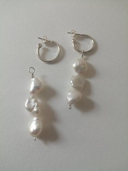 3 Pearls Hoops earrings