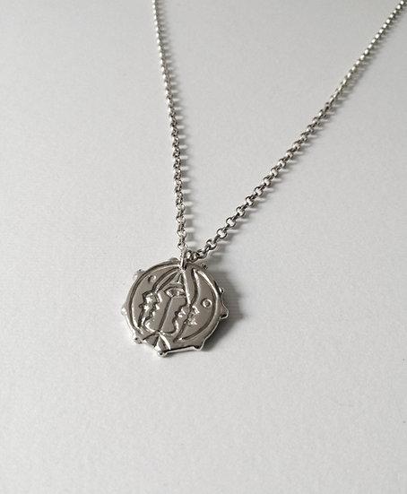 Men moon face necklace