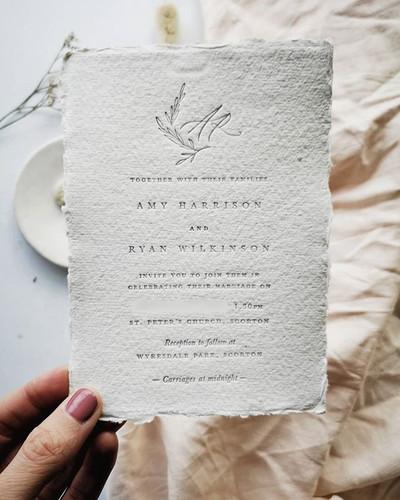 Luxe, romantic wedding invitation using