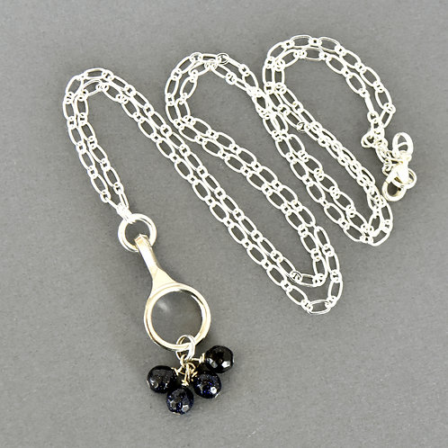 Long Clarinet Key Necklace with Navy Blue Bead Cluster