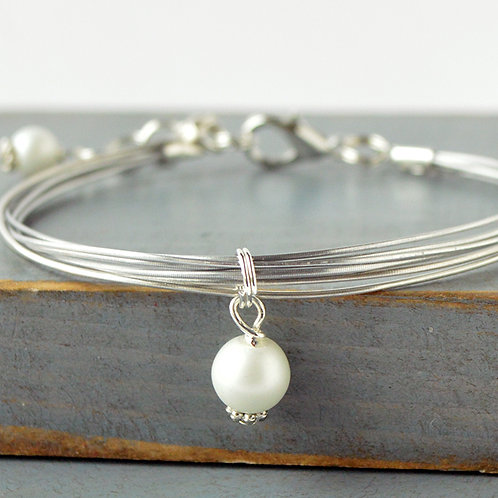Viola/ Violin String Bracelet with Pearl Accent